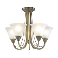 Boston  5-Light Semi Flush Antique Brass