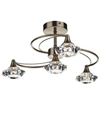 Dar Luther Four-Light Antique Brass