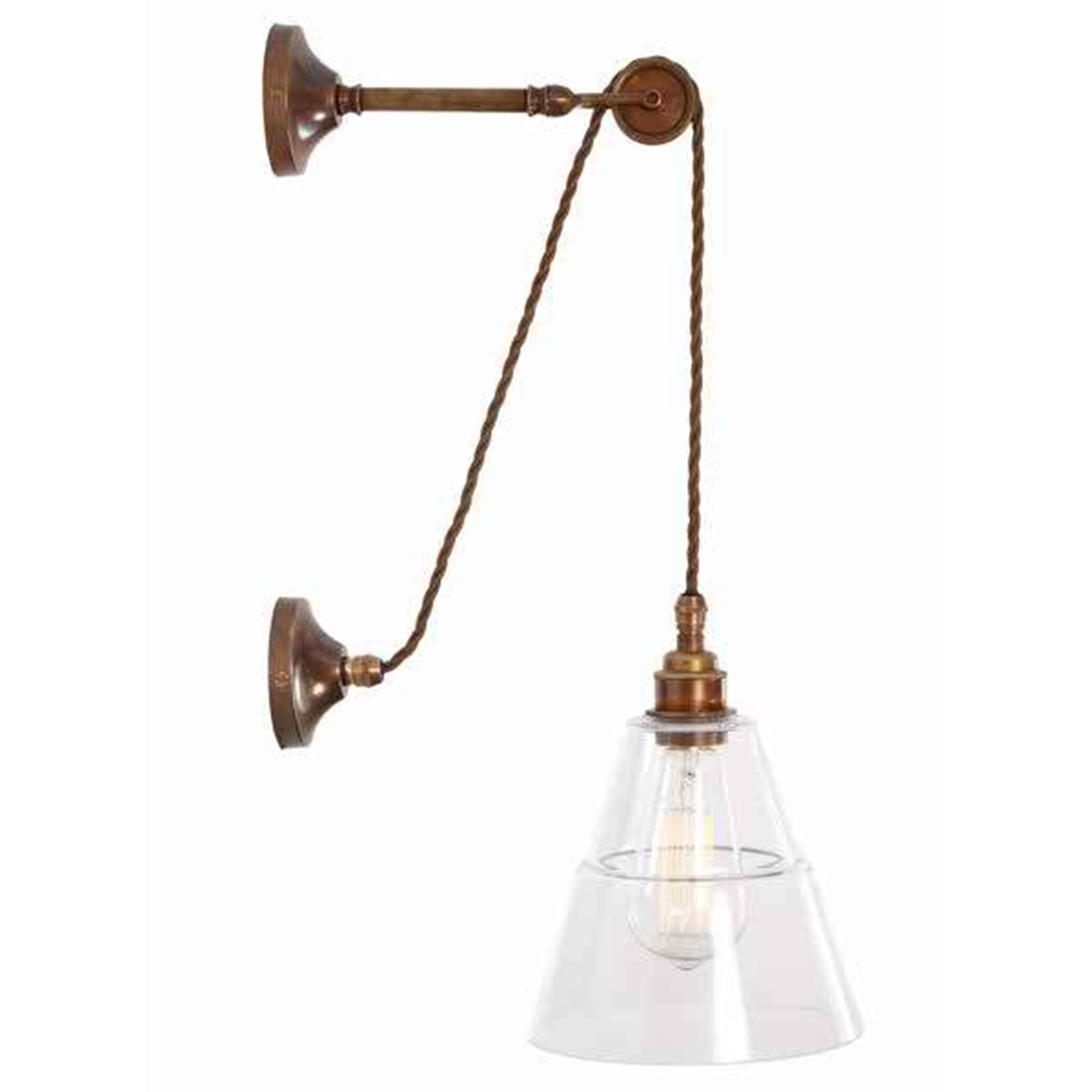 Mullan Lighting Rigale Coolie Industrial Pulley Wall Light Antique Brass