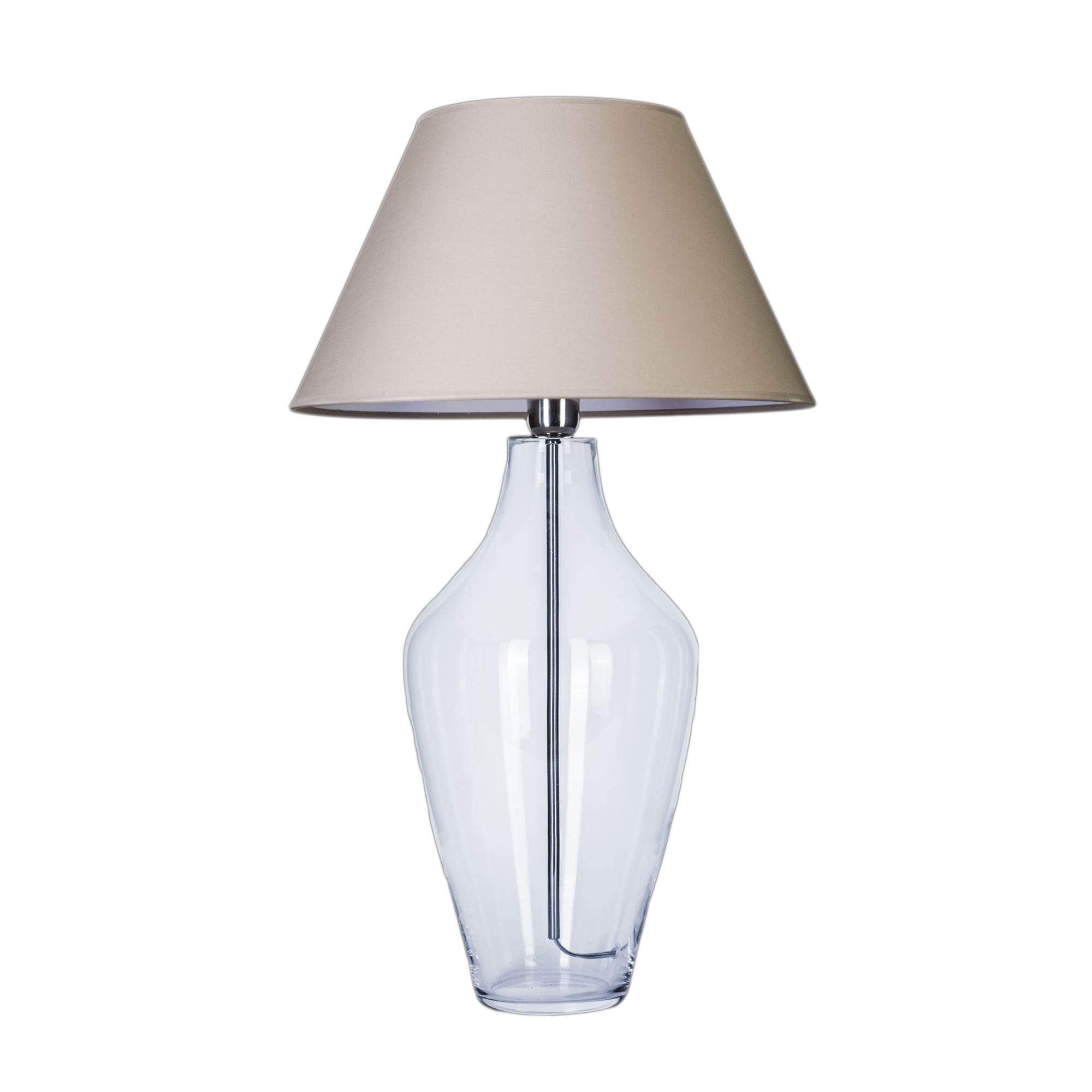 4 Concepts Valencia Small Clear Glass Table Lamp Grey White