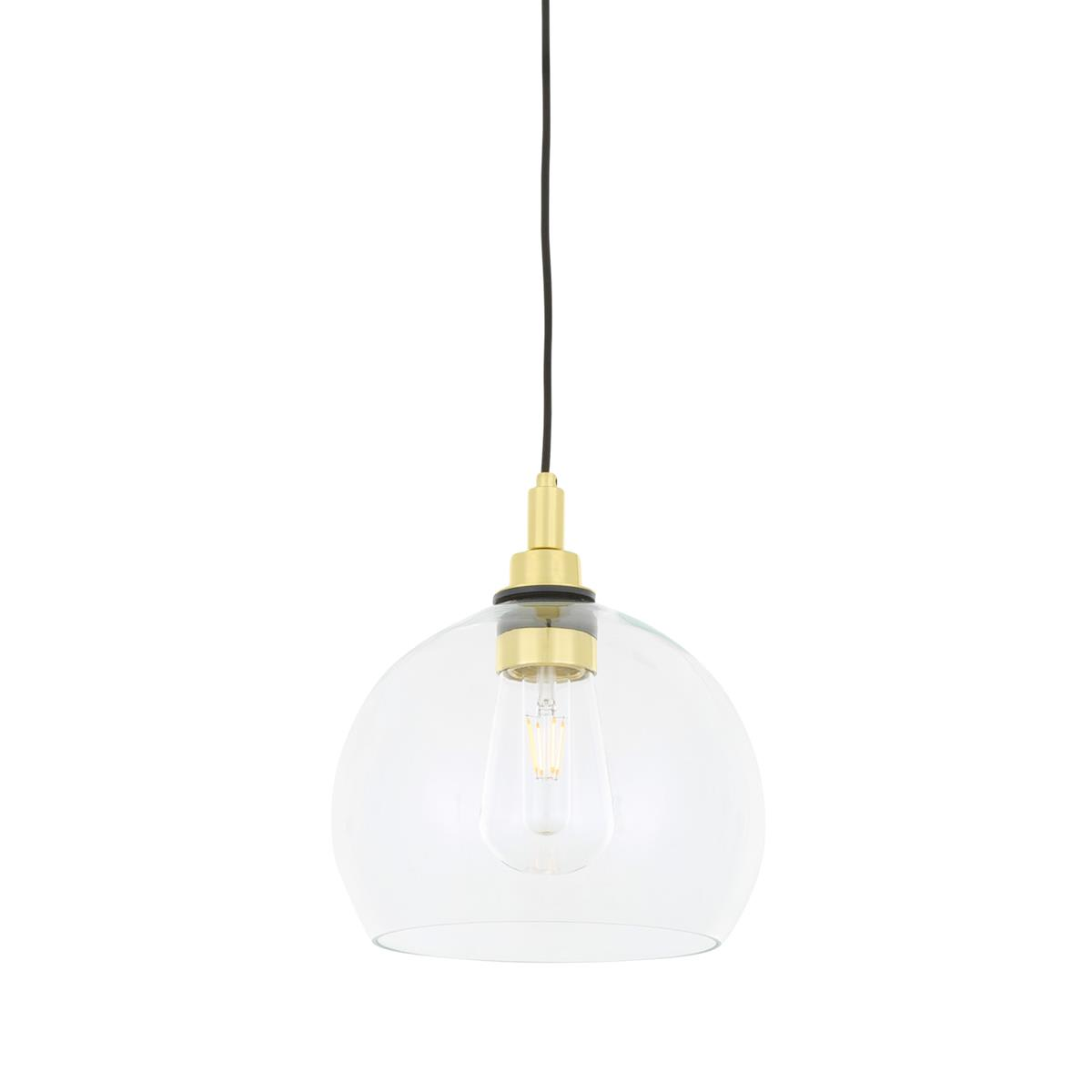 Mullan Lighting Leith 25cm Clear Glass Pendant Ip65 Antique Brass