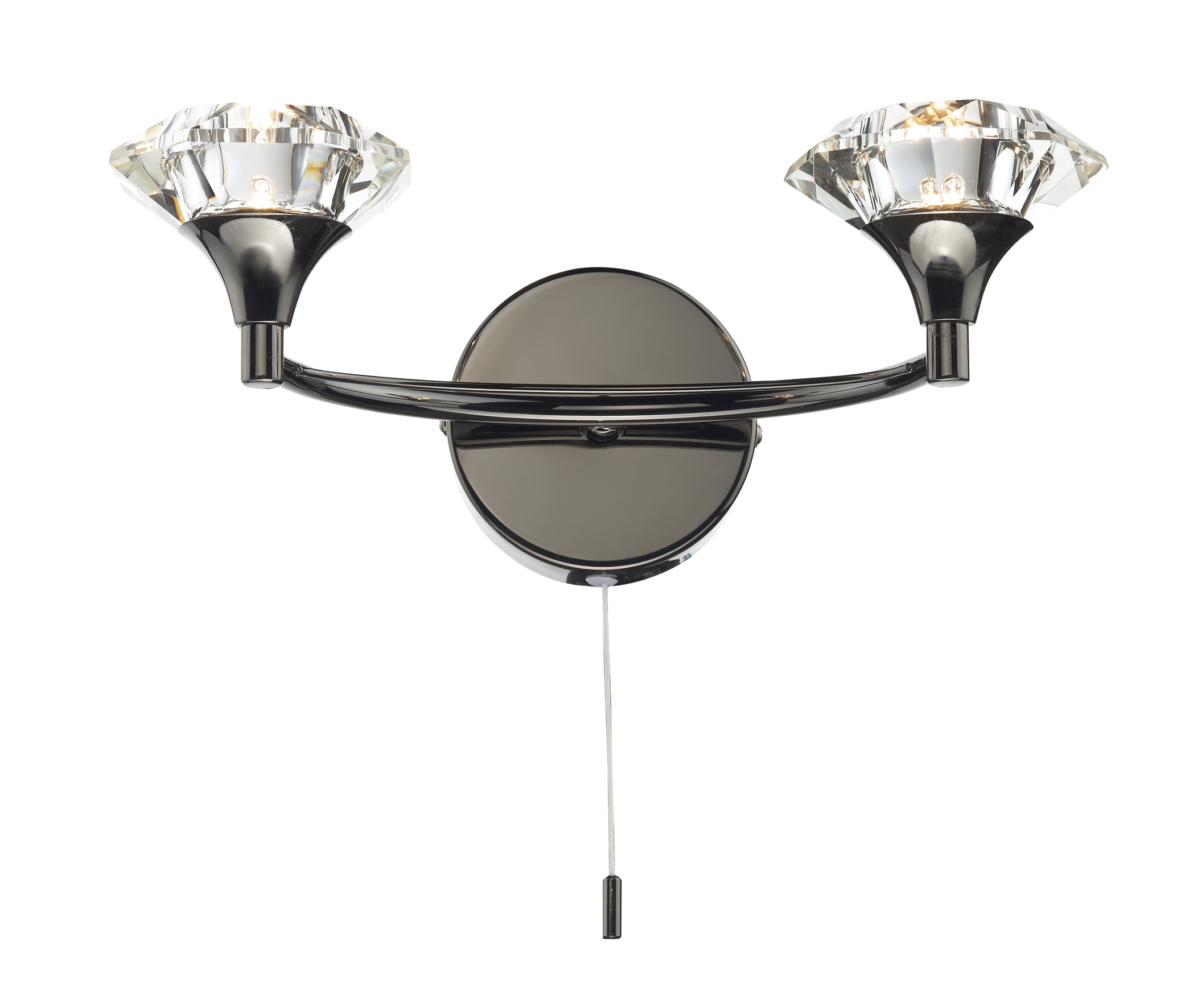Dar Luther Double Wall Bracket With Crystal Glass Black Chrome