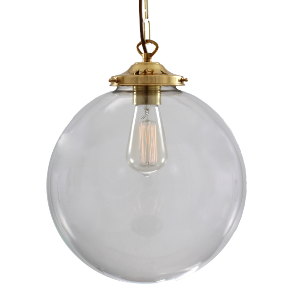 Picture of: Mullan Riad 30cm Clear Globe Pendant Antique Brass